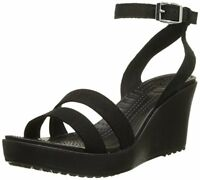 Crocs Women's Shoes Leigh II Ankle Strap Wedge Sandal Black 100% Authentic