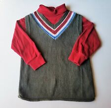 Boys KITESTRINGS boutique sweater vest t shirt 7 red green Christmas outfit