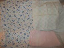"VTG Baby: Blankets & Sheet Lot of 3 ""Comfort, no brand pink, Bibb crib sheet"""