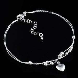 925 Sterling Silver Plated Heart  Anklet  26cm Total with Extension Chain KPAN6