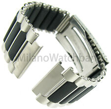 18mm Timex Ironman Sport Metal Silver and Black Tone Buckle Watch Band TX485168T