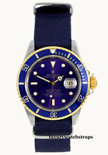QUALITY BLUE NATO® STRAP FOR ROLEX SUBMARINER 16613 YACHTMASTER GMT WATCH  20mm