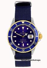 Calidad Azul OTAN ® CORREA PARA ROLEX SUBMARINER 16613 Yachtmaster GMT Reloj 20mm