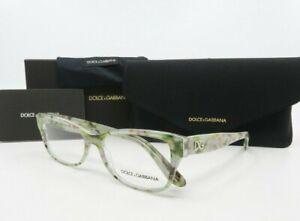 Dolce & Gabbana DG 3204 2843 New White/ Green Floral Women's Glasses 55mm