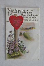 d280 vintage postcard Valentine Greetings Heart Road to happy Town