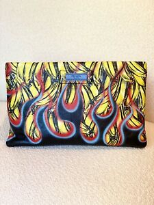 Prada Leather Zip Flame Banana Pouch MSRP $1990