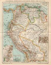 B6185 Colombia, Venezuela, Ecuador... - Carta geografica antica 1901 - Old map