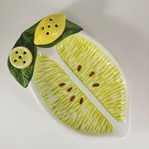 HANDMADE Italian Majolica Lemon Appetizer Ceramic Serving Tray Toothpick Holder