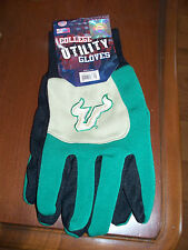 University of South Florida USF Work Gardening Gloves Green/Gold Color Block NIP