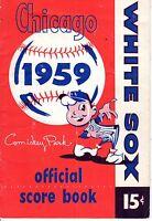 1959 Baseball program, Cleveland Indians @ Chicago White Sox, unscored