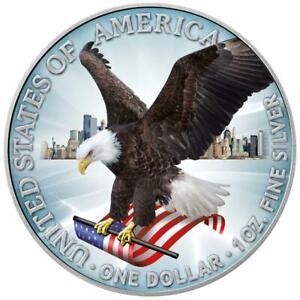 USA - 1 Dollar 2021 - Silver Eagle - Neues Design - in Farbe - 1 Oz Silber ST