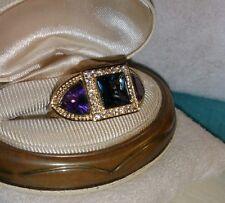Dallas Prince 14k Yellow Gold/Sterling silver London blue topaz Amethyst ring