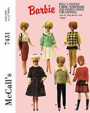 Vintage Barbie 11 1/2 inch doll clothes sewing and knitting patterns - 7431