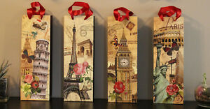 Wine Gift Bags, Assorted Sparkly Vineyard Inspired Designs [4 pack or 12 pack]