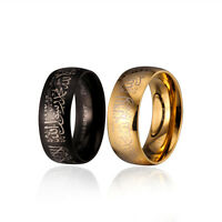 Men Women Black Gold Stainless Steel Religious Ring Islam Muslim Proverbs Ring