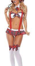 Naughty Schoolgirl 6pc Outfit Lingerie Costume Panty Plaid Mini Skirt Glasses C9