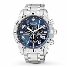 New Citizen Eco-Drive Men's BL5470-57L Blue Dial Chrono Stainless Steel Watch