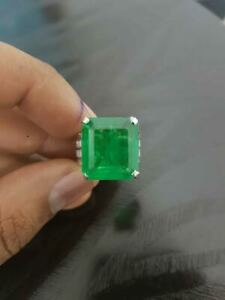 16 CT Columbian Green Emerald Cut Wedding Engagement Ring 925 Sterling Silver