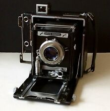 Graflex 3 1/4x4 1/4 Anniv Speed Graphic w/ orig box, & 2 film holders. Works, 9+