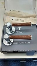 TURNSTYLE DESIGNS Crome PLATED BRASS DOOR PULL  WITH LEATHER  handles. New