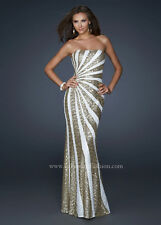 LA FEMME SPARKING STRAPLESS SEQUIN EVENING GOWN GOLD/WHITE DRESS sz 00