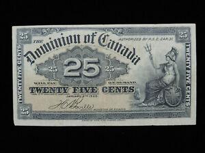 1900 25¢ Cent Dominion of Canada Banknote Bill Boville DC-15b VF+ Grade