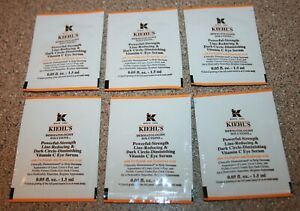 6 Kiehl's Powerful-Strength Line-Reducing Vitamin C Eye Serum .05 oz samples .30