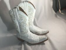 Running Horse Boots, White Ostrich, Size 6, Sanitized, Very nice boots