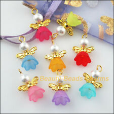 8Pcs Gold Plated Wings Mixed Dancing Angel Charms Pendants 14x19mm