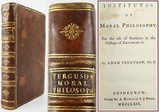 1769*ADAM FERGUSON*INSTITUTES OF MORAL PHILOSOPHY*SCOTTISH ENLIGHTENMENT*1ST ED*