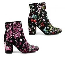 LADIES WOMENS FLORAL EMBROIDED BLACK SUEDE BLOCK HEEL RETRO ANKLE BOOTS SIZE