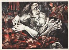 LEA GRUNDIG - MASSACRE CHILE * EAST GERMAN SMALL POLITICAL ART PRINT 1975