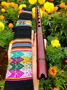 NATIVE AMERICAN STYLE FLUTE & EMBROIDERED BAG MAHOGANY KEY (G)440 HZReg-$265 NEW