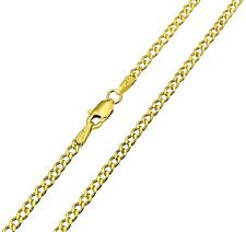 14K Real Yellow Gold 2.3mm Concave Curb Cuban Hollow Chain Necklace - 20 Inches