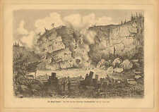 Stone Quarry Explosion, Blasting, Vintage 1880 German Antique Art Print.