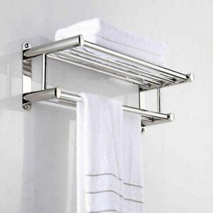 Double Chrome Towel Rail Holder Wall Mounted Bathroom Rack Shelf Stainless Steel