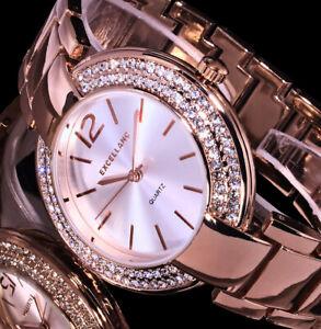 Excellanc Frauen Damen Armband Uhr Silber Rose Gold Farben Metall Strass 20-3