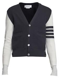 NWT Thom Browne Hybrid V-Neck Cotton & Wool Cardigan - Blue/White -Size: 3/Large