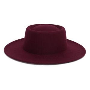Men Women Vintage Felt Fedora Hat Wide Brim Hats Boater Panama Jazz Cap Unisex