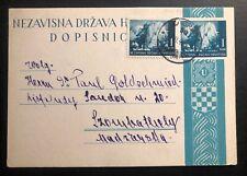 1942 Zagreb Croatia Germany PS Postcard Cover To Szombathely Hungary Judaica