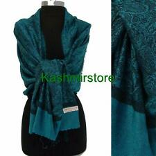 Pashmina Paisley Floral Silk Wool Scarf Wrap Shawl Soft Turquoise/black #W103
