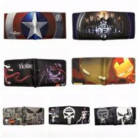 Lots Marvel Bifold Wallet Iron Man Spider Man Ant Man Punisher Venom Short Purse