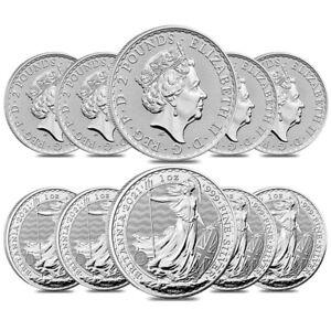 Lot of 10 - 2021 Great Britain 1 oz Silver Britannia Coin .999 Fine BU