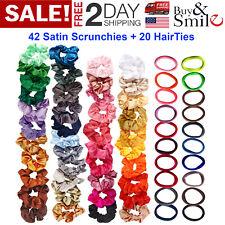 62 Hair Scrunchies Bands Elastic Silk Hair Bobbles Satin Women Hair Accessories