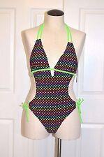 Capri Brand One Piece Monikini Swim Suit Size M Black with Multi-Color Polka Dot