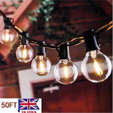 Indoor Outdoor 50ft Waterproof Globe String G40 Lights 50 Clear Bulbs Festoon UK