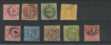 German States Bavaria , 1850 - 1863 , 9 stamps , mixed condition