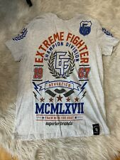 "Men's ""Extreme Fighter"" XL Gray/Blue/Red Crew Neck Short Sleeve T-Shirt"
