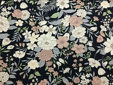 "4 Metres Black & Brown Flowers ""Lilly"" Floral Printed 100% Cotton Poplin Fabric"
