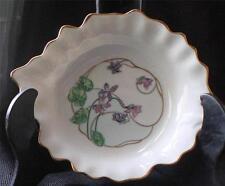 """Vintage CASTEL LIMOGES France Leaf Shape FLORAL  Pattern 7"""" Candy Dish"""